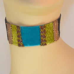 Black, Green and Blue Suede Choker with Braid Trim