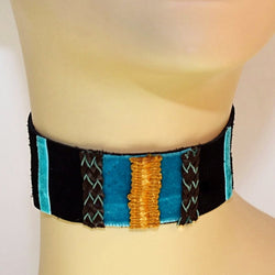 Black and Blue Suede Choker