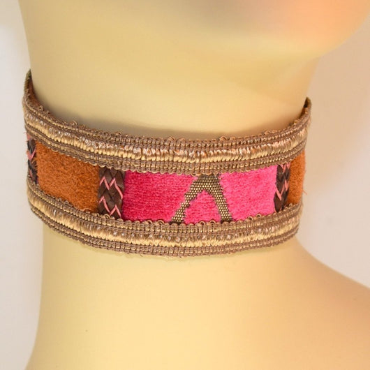 Brown, Pink Velvet and Suede Choker with Braid Trim