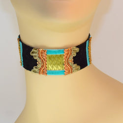 Black, Green and Blue Suede Choker