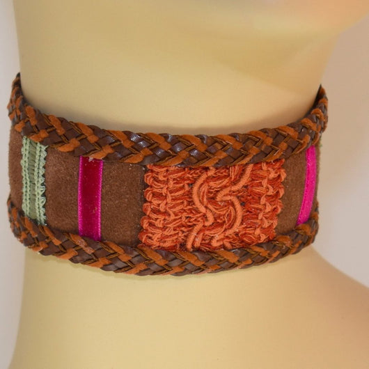 Chocolate Brown, Orange, Pink and Green Suede Choker with Braid Trim