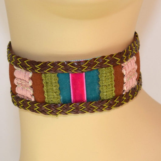 Brown, Blue, Pink and Green Suede Choker with Braid Trim