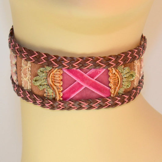 Chocolate Brown and Pink X Suede Choker with Braid Trim
