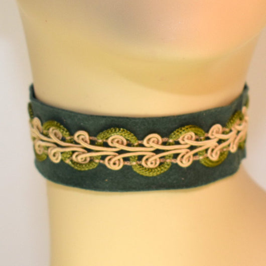 Green Suede Choker with Brocade Trim