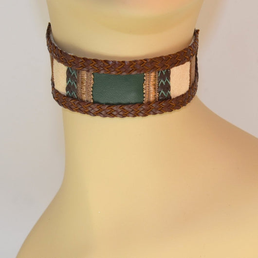 Tan Suede and Green Leather Choker with Brown Braid Trim