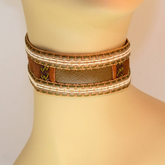 Brown Suede and Green Leather Choker with Braid Trim