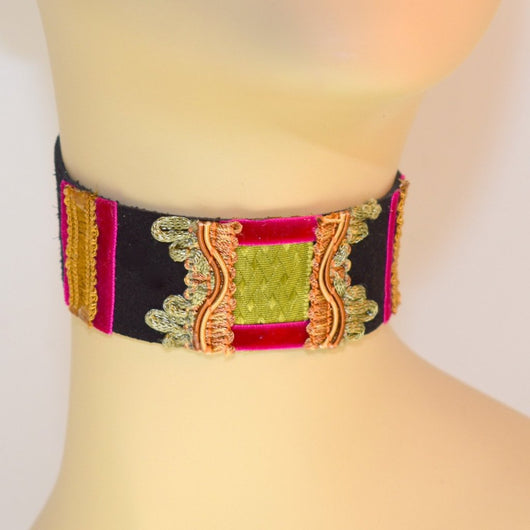 Black, Green and Hot Pink Suede Choker