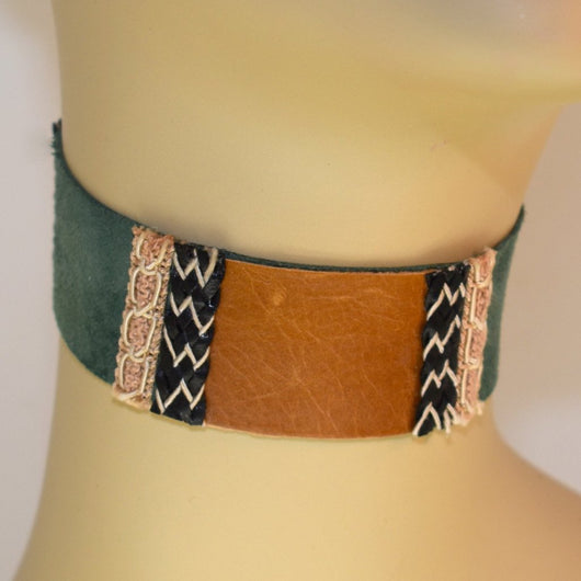 Green Suede and Brown Leather Choker with Braid Trim