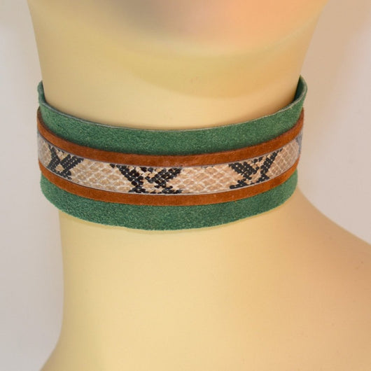 Green Suede and Snake Trim Choker