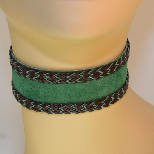 Green Suede with Braid Trim Choker
