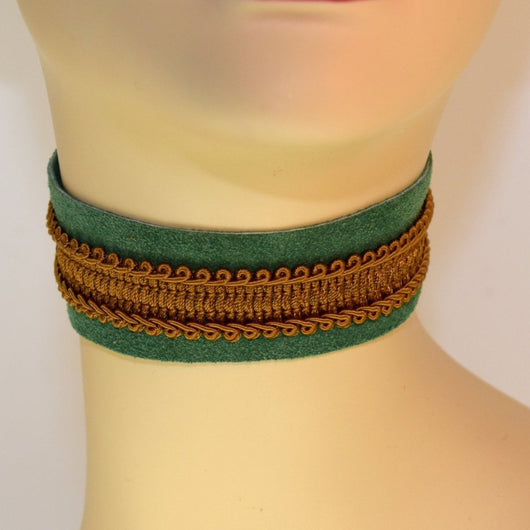 Green Suede Choker with Brown/Gold Trim