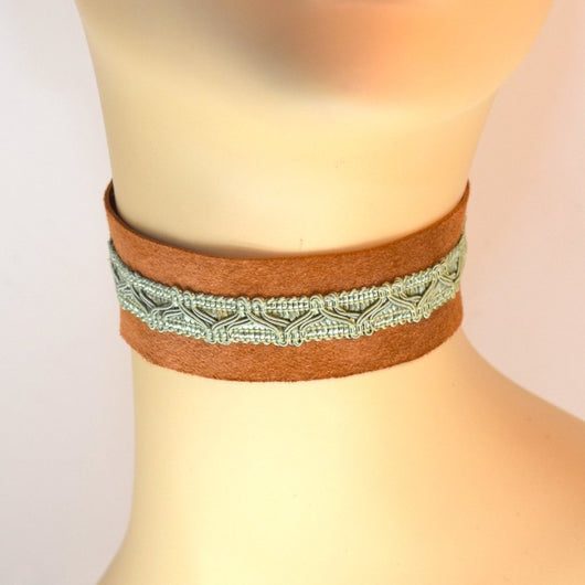 Brown Suede Choker with Green Trim