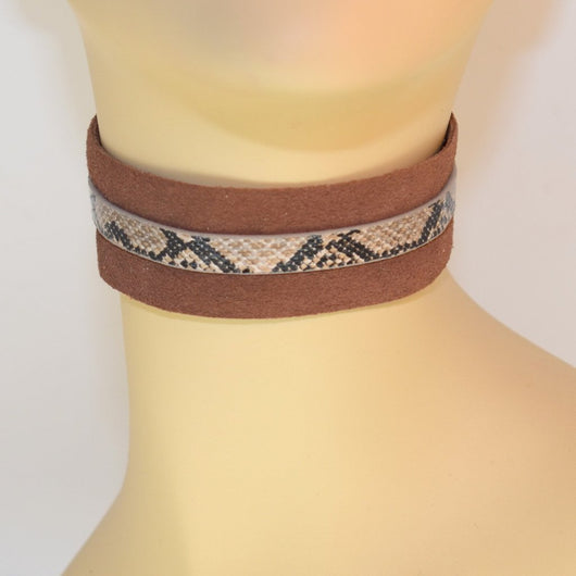 Chocolate Brown Suede Choker with Snake Trim