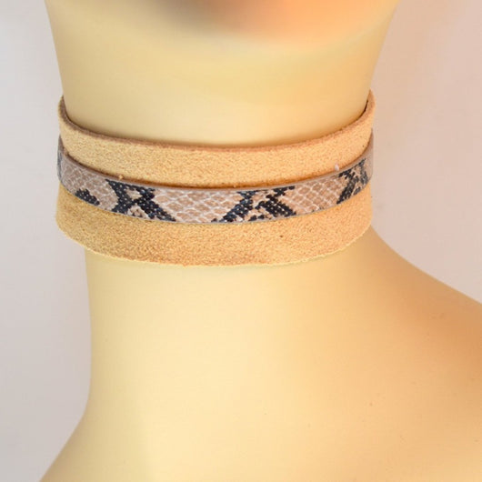 Tan Suede Choker with Snake Trim