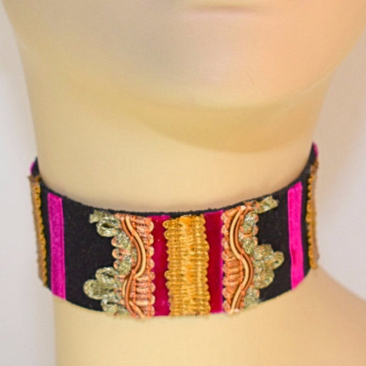 Black and Pink  Suede Choker 1