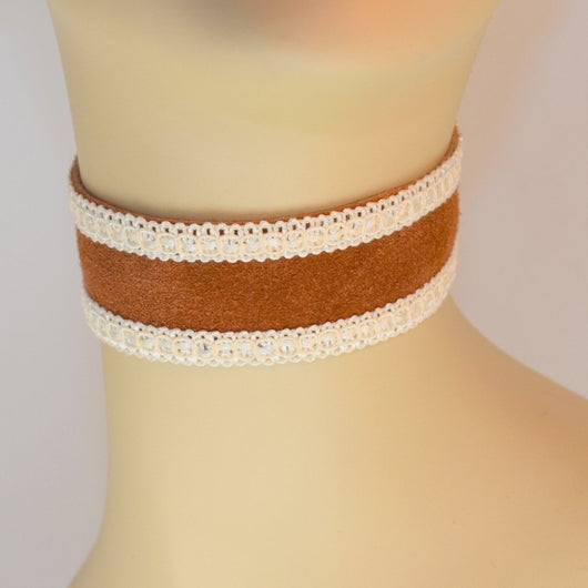 Brown Suede Choker with Cream Trim