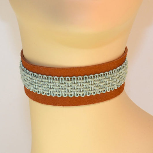 Brown Suede Choker with Blue-Green Trim