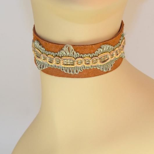 Light Brown Suede Choker with Green Brocade Trim