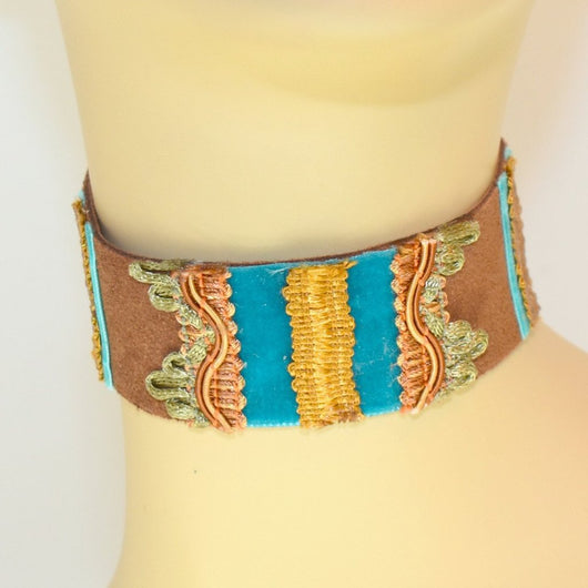 Brown and Blue Suede Choker with Gold