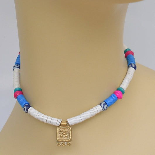 White, Blue, and Pink Beaded Choker with Gold Pendant