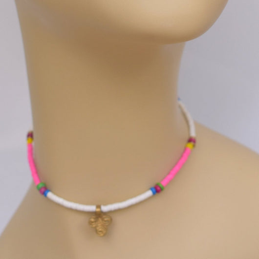 White and Pink Thin Beaded Choker with Brass Pendant