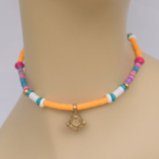 Orange Beaded Choker with Multicolor Pops and Brass Pendant