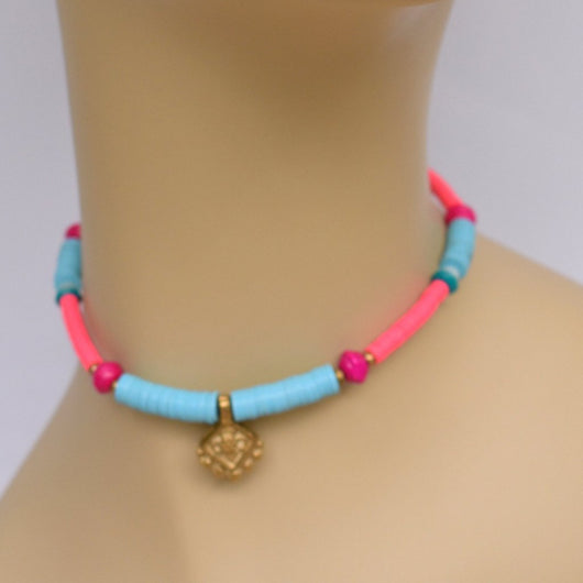 Pink and Blue Thick Beaded Choker with Brass Pendant