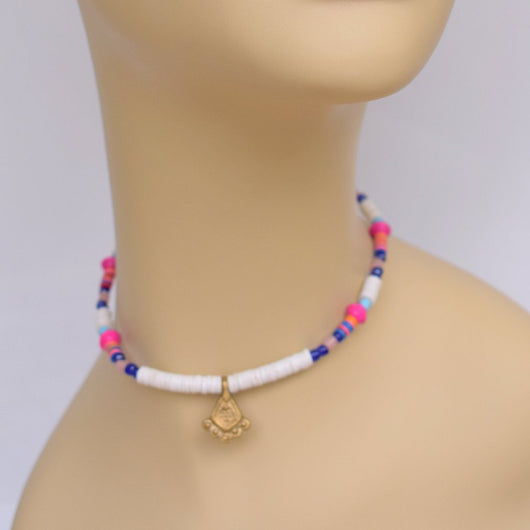 White, Pink, and Purple Beaded Choker with Brass Pendant