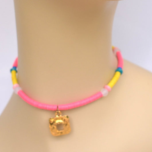 Pink and Yellow Beaded Choker with Gold Square Pendant