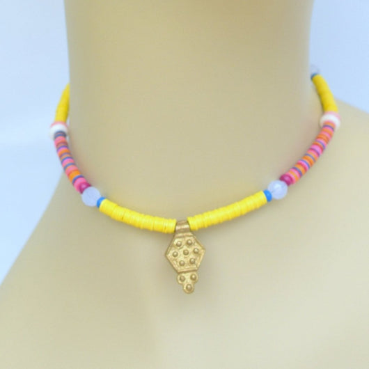 Yellow and Pink Beaded Choker with Gold Pendant