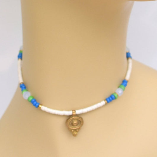 White and Blue Thin Beaded Choker with Brass Pendant