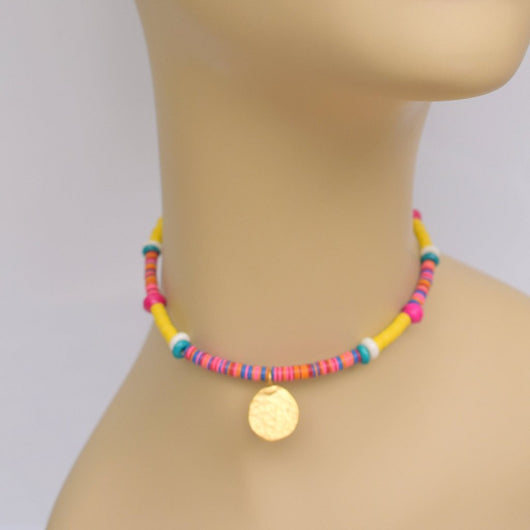 Multi-color Beaded Choker with Gold Circle Pendant