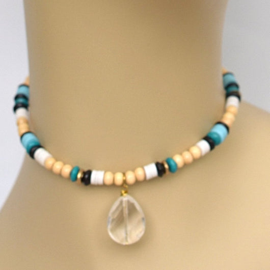 Earthy Tan and Blue Beaded Choker with Clear Teardrop Pendant