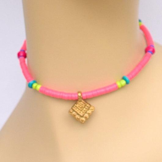 Bright Pink Beaded Choker with Brass Pendant