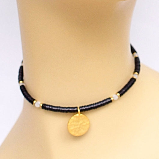 Black and Gold Beaded Choker with Gold Circle Pendant101