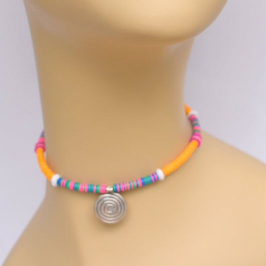 Orange and Jewel Tone Beaded Choker with Silver Spiral Pendant