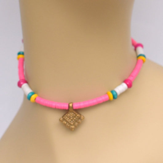 Pink and White Beaded Choker with Brass Pendant