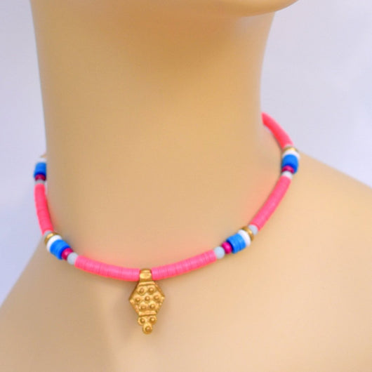 Pink and Blue Beaded Choker with Brass Pendant
