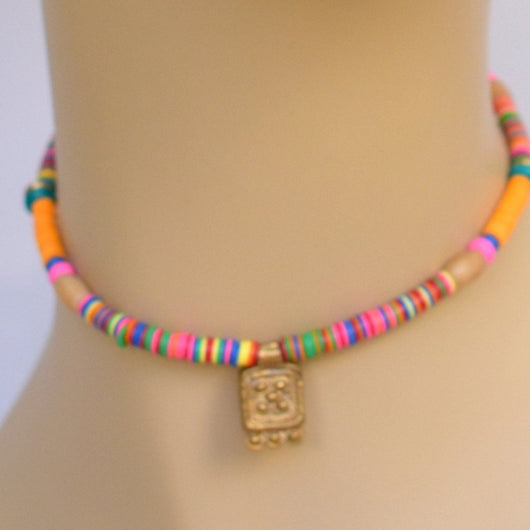 Multicolor Beaded Choker with Brass Pendant