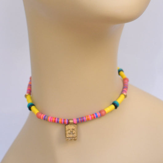 Yellow Multi-color Beaded Choker with Yellow Color Blocks and Brass Pendant