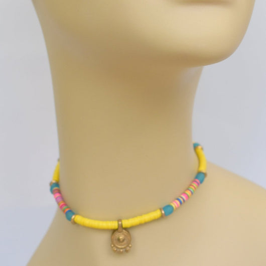 Yellow/Multi-color Beaded Choker with Brass Pendant