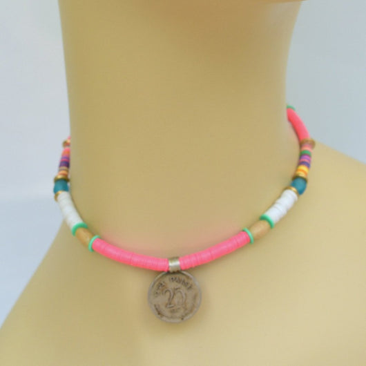 Multi-color Beaded Choker with Vintage Coin Pendant