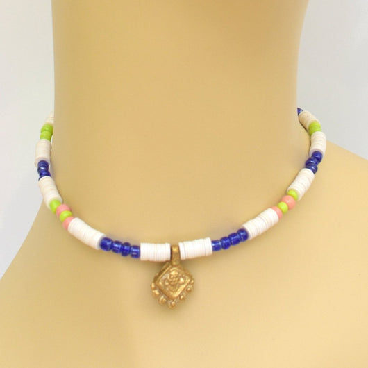 White, Cobalt, and Lime Beaded Choker with Gold Pendant