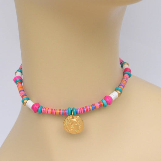 Jewel Toned Beaded Choker with Gold Pendant