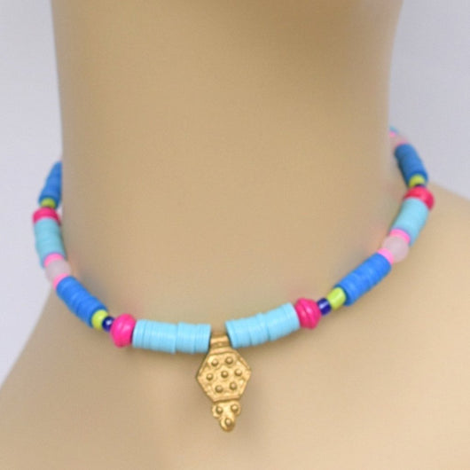 Dark/Light Blue and Pink Beaded Choker with Brass Pendant