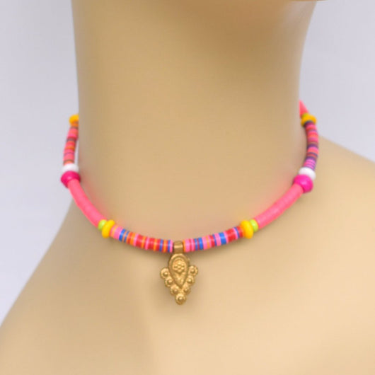 Pink Beaded Choker with Bright Multicolor Pops and Brass Pendant