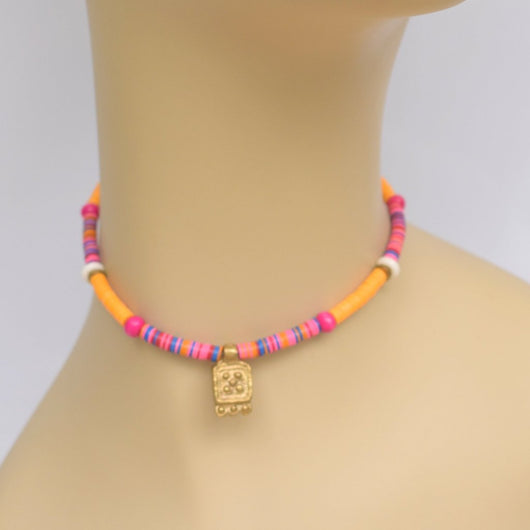 Orange and Pink Beaded Choker with Brass Pendant