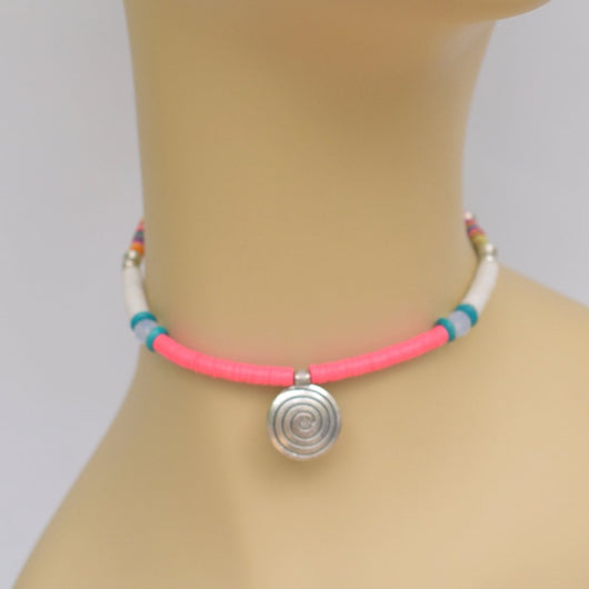 Pink and White Beaded Choker with Silver Spiral Pendant