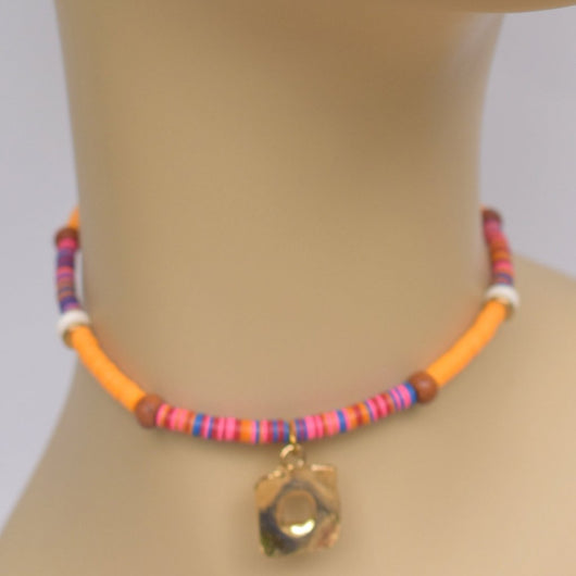 Orange, Pink, and Blue Beaded Choker with Gold Square Pendant