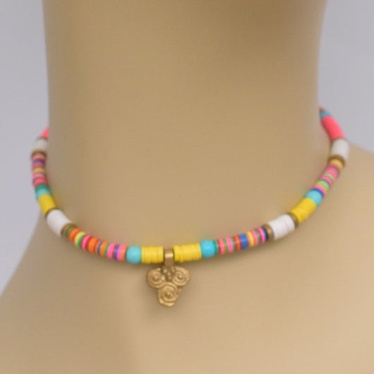 Multi-color Beaded Choker with Brass Pendant